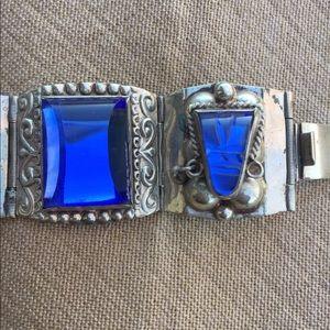 Sapphire Blue Stones Mexico Sterling Bracelet Boho